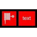 F001 - Požiarna hadica - Vodorovná požiarna nálepka s doplnkovým textom