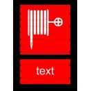 F001 - Požiarna hadica - Zvislá požiarna nálepka s doplnkovým textom