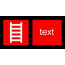 F002 - Rebrík - Vodorovná požiarna nálepka s doplnkovým textom