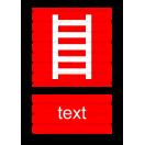 F002 - Rebrík - Zvislá požiarna nálepka s doplnkovým textom