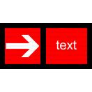F005 - Smer na dosiahnutie bezpečia (vpravo / vľavo) - Vodorovná požiarna nálepka s doplnkovým textom
