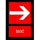 F005 - Smer na dosiahnutie bezpečia (vpravo / vľavo) - Zvislá požiarna nálepka s doplnkovým textom