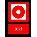 F006 - Tlačidlový hlásič požiaru - Zvislá požiarna nálepka s doplnkovým textom