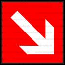 F007 - Smer na dosiahnutie bezpečia - Štvorcová požiarna nálepka bez textu