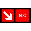 F007 - Smer na dosiahnutie bezpečia - Vodorovná požiarna nálepka s doplnkovým textom