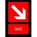 F007 - Smer na dosiahnutie bezpečia - Zvislá požiarna nálepka s doplnkovým textom