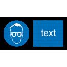M001 - Príkaz na ochranu zraku - Vodorovná nálepka s doplnkovým textom