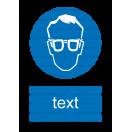 M001 - Príkaz na ochranu zraku - Zvislá nálepka s doplnkovým textom