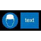 M002 - Príkaz na ochranu hlavy - Vodorovná nálepka s doplnkovým textom
