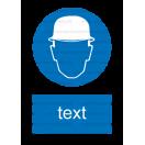 M002 - Príkaz na ochranu hlavy - Zvislá nálepka s doplnkovým textom