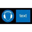 M003 - Príkaz na ochranu sluchu - Vodorovná nálepka s doplnkovým textom