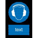 M003 - Príkaz na ochranu sluchu - Zvislá nálepka s doplnkovým textom
