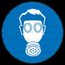 M004 - Príkaz na ochranu dýchacích orgánov - Okrúhla nálepka bez textu