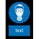M004 - Príkaz na ochranu dýchacích orgánov - Zvislá nálepka s doplnkovým textom