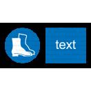M005 - Príkaz na ochranu nôh - Vodorovná nálepka s doplnkovým textom