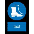 M005 - Príkaz na ochranu nôh - Zvislá nálepka s doplnkovým textom