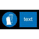 M006 - Príkaz na ochranu rúk - Vodorovná nálepka s doplnkovým textom