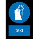 M006 - Príkaz na ochranu rúk - Zvislá nálepka s doplnkovým textom