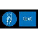 M009 - Príkaz na použitie bezpečnostného závesného systému - Vodorovná nálepka s doplnkovým textom