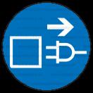 M013 - Príkaz na vytiahnutie zo zásuvky pred otvorením - Okrúhla nálepka bez textu