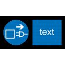 M013 - Príkaz na vytiahnutie zo zásuvky pred otvorením - Vodorovná nálepka s doplnkovým textom