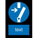 M014 - Príkaz na odpojenie pred prácou - Zvislá nálepka s doplnkovým textom