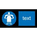 M018 - Príkaz na použitie ochrannej zástery - Vodorovná nálepka s doplnkovým textom