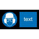 M019 - Príkaz na ochranu hlavy, zraku a sluchu - Vodorovná nálepka s doplnkovým textom