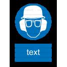 M019 - Príkaz na ochranu hlavy, zraku a sluchu - Zvislá nálepka s doplnkovým textom