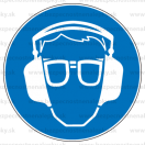 M020 - Príkaz na ochranu zraku a sluchu - Okrúhla nálepka bez textu