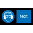 M020 - Príkaz na ochranu zraku a sluchu - Vodorovná nálepka s doplnkovým textom