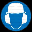 M021 - Príkaz na ochranu hlavy a sluchu - Okrúhla nálepka bez textu
