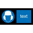 M021 - Príkaz na ochranu hlavy a sluchu - Vodorovná nálepka s doplnkovým textom