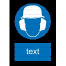 M021 - Príkaz na ochranu hlavy a sluchu - Zvislá nálepka s doplnkovým textom