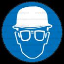 M022 - Príkaz na ochranu hlavy a zraku - Okrúhla nálepka bez textu