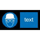 M022 - Príkaz na ochranu hlavy a zraku - Vodorovná nálepka s doplnkovým textom