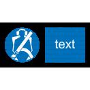 M024 - Príkaz na použitie ochranných pásov - Vodorovná nálepka s doplnkovým textom