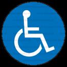 M025 - Cesta vyhradená pre používateľov invalidných vozíkov - Okrúhla nálepka bez textu