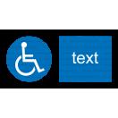 M025 - Cesta vyhradená pre používateľov invalidných vozíkov - Vodorovná nálepka s doplnkovým textom