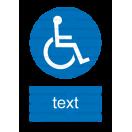 M025 - Cesta vyhradená pre používateľov invalidných vozíkov - Zvislá nálepka s doplnkovým textom