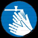 M026 - Príkaz na umytie rúk - Okrúhla nálepka bez textu