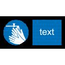 M026 - Príkaz na umytie rúk - Vodorovná nálepka s doplnkovým textom