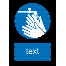 M026 - Príkaz na umytie rúk - Zvislá nálepka s doplnkovým textom
