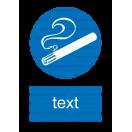 M027 - Miesto vyhradené na fajčenie - Zvislá nálepka s doplnkovým textom