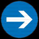 M028 - Prikázaný smer - Okrúhla nálepka bez textu