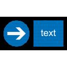 M028 - Prikázaný smer - Vodorovná nálepka s doplnkovým textom