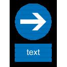 M028 - Prikázaný smer - Zvislá nálepka s doplnkovým textom
