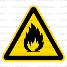 W001 - Nebezpečenstvo požiaru - Trojuholníková nálepka bez textu