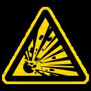 W002 - Nebezpečenstvo výbuchu - Trojuholníková nálepka bez textu