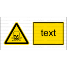 W003 - Nebezpečenstvo otravy, zadusenia - Vodorovná nálepka s doplnkovým textom